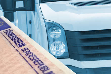 A truck and a German driver's license Stock Photo