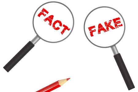 Magnifying glass, fake and fact 版權商用圖片