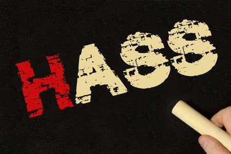 Chalk board and the word hate 版權商用圖片
