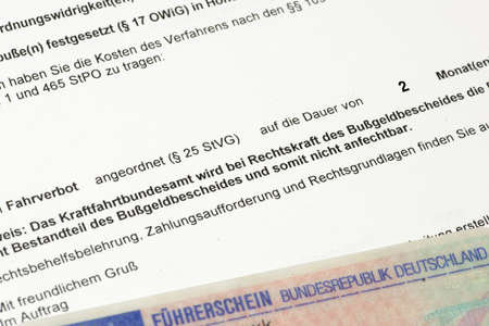 Driving ban, driver's license and fine notice