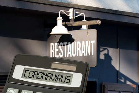 Restaurant, calculator and corona virus Stockfoto