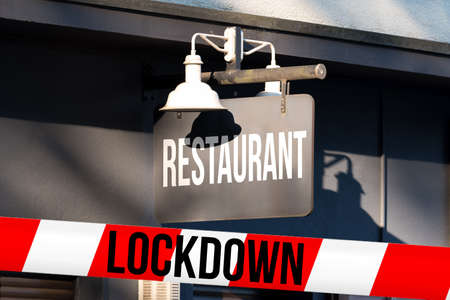 Restaurant and police tape lockdown Stockfoto