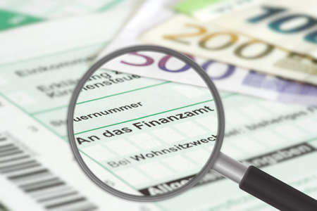 A tax return and euro banknotes