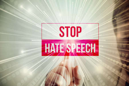 A man and slogan stop hate speech