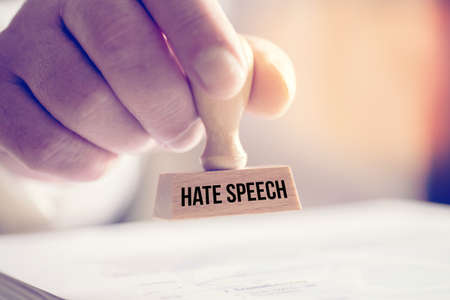 A man and stamp hate speech