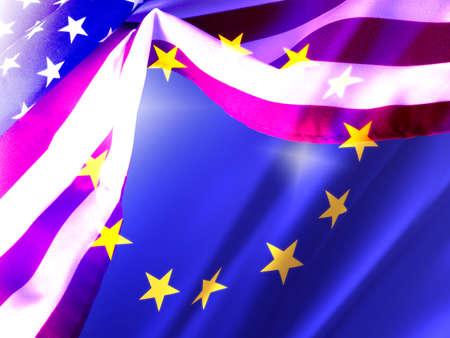 Flags of the USA and European Union EU