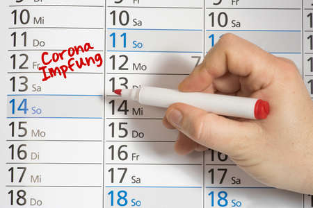 A calendar and date for the vaccination against Corona Virus