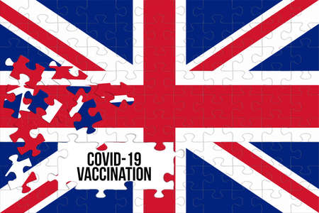 Flag of Great Britain and Corona Virus Vaccination