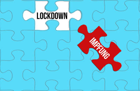 Puzzle, lockdown and vaccination against corona virus Banque d'images