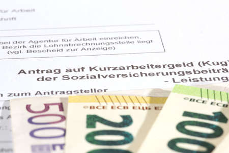 Euro banknotes and application for short-time work allowance due to the coronavirus pandemic