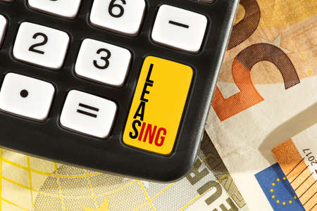 Euro banknotes, calculators and leasing