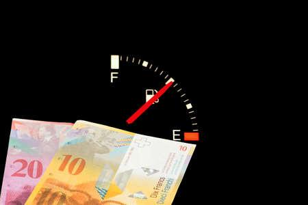 Fuel gauge, money Swiss francs and gasoline price in Switzerland
