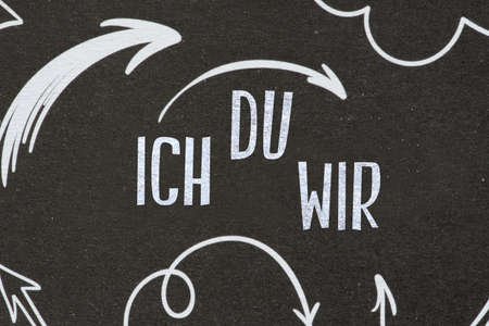 A blackboard and words I you we Standard-Bild