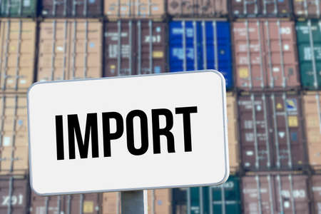 Container in the port and board import Standard-Bild