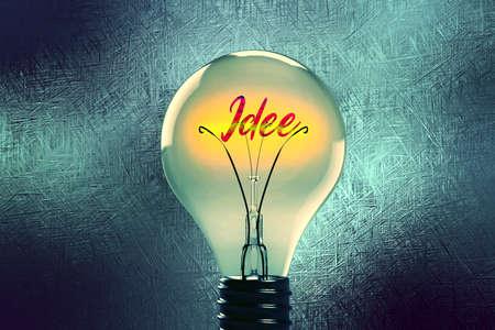 A light bulb, light and an idea