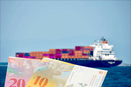 A ship with containers and money Swiss francs