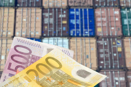 Containers in the port and euro money