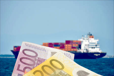 A ship with containers and euro banknotes