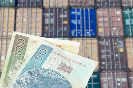 Containers in the port and money Polish zloty PLN