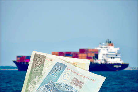 A ship with containers and money Polish zloty PLN