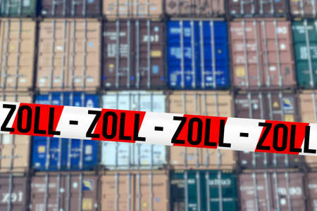 Containers in the port Customs barrier tape Reklamní fotografie