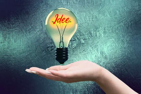 A hand, lightbulb and the word Idea
