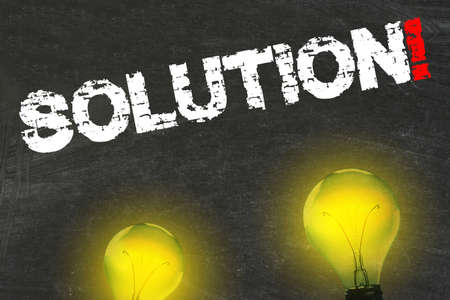 Light, lightbulbs and the word solution
