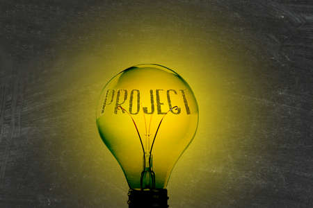 Light, lightbulb and the word project