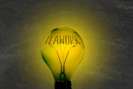 Light, lightbulb and the word teamwork