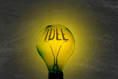Light, lightbulb and the word Idea