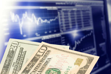 Dollar bills and stock market in America