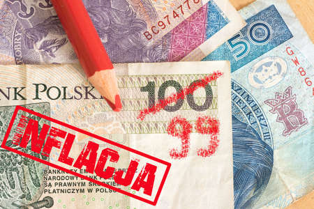 Inflation in Poland and money Polish zloty PLN Stock fotó