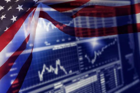 Flag of USA and Stock Exchange in America