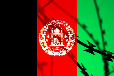 Flag of Afghanistan and barbed wire