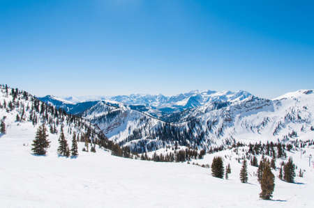 utah: Mountain Ridges Behind Snowbird and Alta Stock Photo