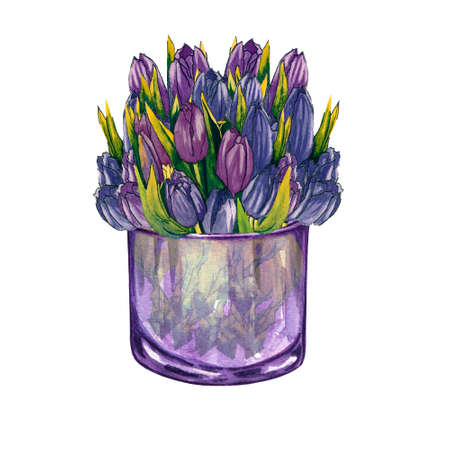 Watercolor glass vase with flowers inside, hand drawn isolated on a white background. Watercolor jar with bouquet of pink tulips.