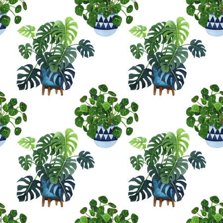 Indoor plant watercolor seamless pattern. Home plants, fig tree, ZZ Plant (Zamioculcas),  Snake Plant (Sansevieria),  Fiddle Leaf Fig,  missionary plants, ficus, monstera in a pot.
