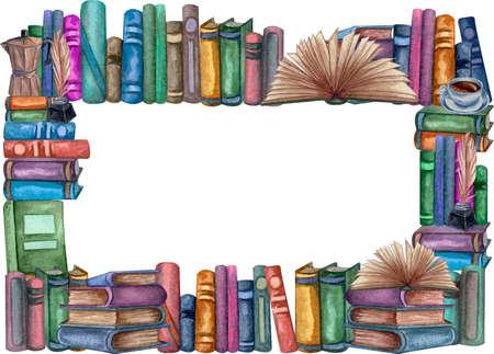 School books frame, education art library, bookshelves watercolor hand drawn illustration. Square frame with books. Reklamní fotografie