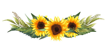 Watercolor floral wreath with sunflowers,leaves, foliage, branches, fern leaves and place for your text. Perfect for wedding, invitations, greeting cards, print. Round autumn's sunflowers frame. 写真素材
