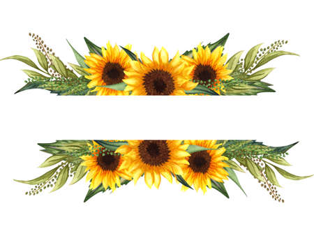 Watercolor floral wreath with sunflowers,leaves, foliage, branches, fern leaves and place for your text. Perfect for wedding, invitations, greeting cards, print. Angled autumn's sunflowers frame.
