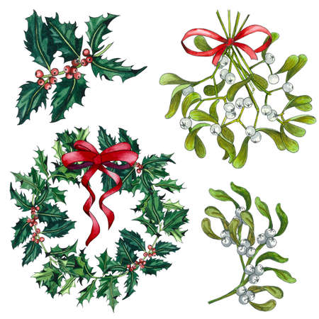 Set of Watercolor Christmas Mistletoe, Holly tree and Red Bows Isolated on White Background. Hand painted holly and mistletoe branch with red and white berry isolated on white background. Standard-Bild