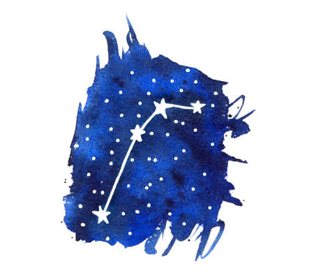 Watercolor zodiac signs Aries. Hand drawn stars on deep blue galaxy background  illustration.