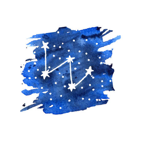 Watercolor zodiac signs Cassiopeia. Hand drawn stars on deep blue galaxy background  illustration.
