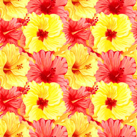 Watercolor seamless tropical floral pattern. Big yellow and red hibiscus flowers. Hand drawn watercolor seamless pattern with color tropical flowers. Sunny flowers. Adstrackt flowers. Banque d'images