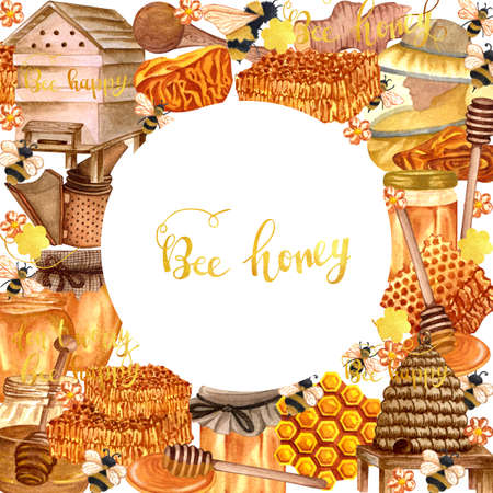 Watercolor honey colorful frame with honeycombs, plants, dipping, bees and honey pot, beehave. Hand drawn honey background. Stok Fotoğraf