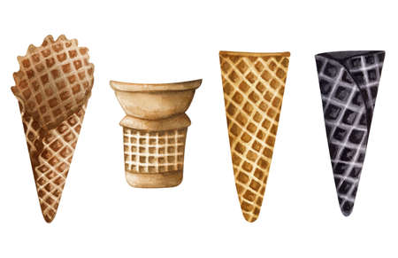 Watercolor ice cream cones set isolated on white background. Hand drawn collection of differents cones for ice cream.