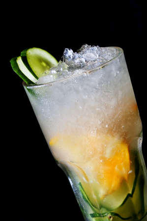 nonalcoholic: cold non-alcoholic cocktails with ice isolated on black background