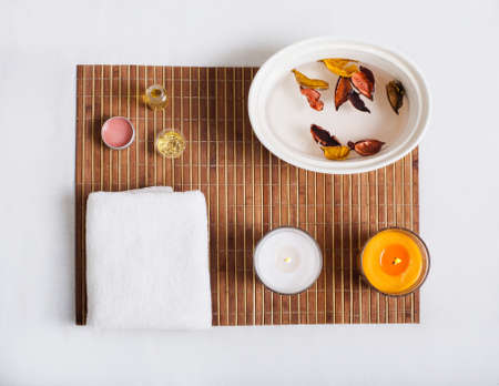 medium group of object: top view of still life objects for body care
