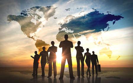 üzlet: Global Business people team sziluettek renderelt számítógépes grafikai