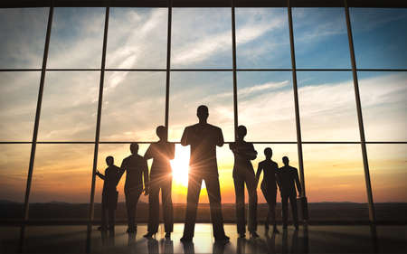 global partnership: The business team silhouettes rendered with computer graphic